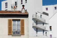 Old and modern building in Paris suburb. Old and modern building in Paris east side suburb Stock Image