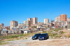 Old and modern buildings in central district in Yerevan, Armenia Royalty Free Stock Images