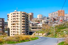 Old and modern buildings in central district in Yerevan, Armenia Royalty Free Stock Photo