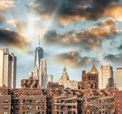Old and modern buildings of Downtown Manhattan, New York City Stock Photos