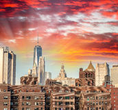 Old and modern buildings of Downtown Manhattan, New York City Stock Images