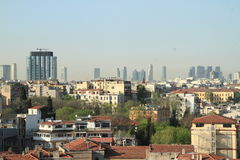 Old and modern buildings of Istanbul. Old and modern buildings - panorama of Istanbul city with skyscrapers, Turkey Stock Image