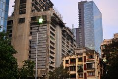 Old and modern buildings in Mumbai. Old and modern buildings in the evening, Dadar district, Mumbai also Bombai, Maharashtra, India Royalty Free Stock Photo