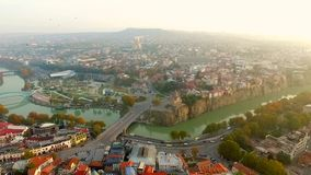 Old and modern buildings of Tbilisi, aerial stock video footage