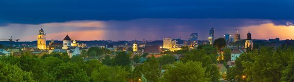 Old and Modern Buildings in Vilnius Panorama stock photos