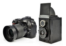 Old and modern camera Royalty Free Stock Photo