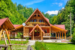 Old modern log summer vacation cabin Royalty Free Stock Image