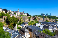 Old and Modern Luxembourg. Luxembourg City Panorama on a sunny summer day with the Kirchberg on the right Royalty Free Stock Images
