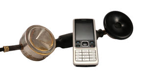 Old and modern phone Stock Photography