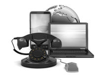 Old and modern phone, laptop and earth globe Stock Photos