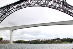 Old and modern railway bridge in Oporto, Portugal Royalty Free Stock Photography