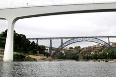 Old and modern railway bridges in Oporto, Portugal Royalty Free Stock Photography