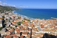 Cefalu old and modern town Stock Images