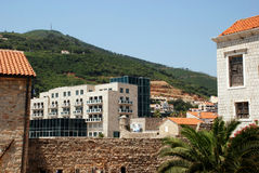 Old and modern town in Budva (Montenegro) Stock Images