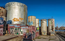 Old molasses tanks Stock Photography