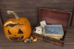 Old moldy pumpkin. Remembering Halloween celebration. Rot on the pumpkin. Halloween scary garden decoration. Stock Photography