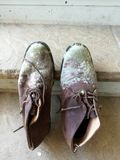 Moldy shoes from the men Royalty Free Stock Photo