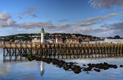 Old mole. At sea in Deauville, France Stock Photography