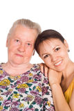 Old mom and daughter Stock Photography