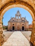 Old monastery behind the Arch. Arkadi monastery - Crete, Greece Stock Photo