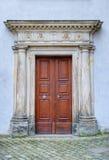 Old monastery brown wooden door Royalty Free Stock Photos