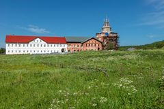 Old monastery buildings. Holy Trinity Anzersky monastery of the Solovki monastery on an island Anzer Russia, Arkhangelsk region, Solovki stock photo