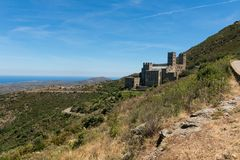 Old Monastery called Sant Pere de Rodes, Catalonia, Spain. Old Monastery called Sant Pere de Rodes in the National Park of Cap de Creus, at the Costa Brava in stock photos