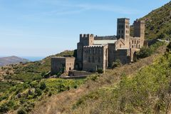 Old Monastery called Sant Pere de Rodes, Catalonia, Spain. Old Monastery called Sant Pere de Rodes in the National Park of Cap de Creus, at the Costa Brava in royalty free stock photo