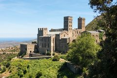 Old Monastery called Sant Pere de Rodes, Catalonia, Spain. Old Monastery called Sant Pere de Rodes in the National Park of Cap de Creus, at the Costa Brava in royalty free stock photography