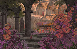 Old Monastery Garden Courtyard. An old Monastery courtyard garden, with statue, flowers and fountain royalty free illustration