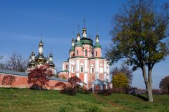 Old Monastery in Gustynya on a sunny autumn day. Old Sviato-Troitskyi Monastery against the blue sky in Gustynya. Chernihiv region. Ukraine. Horizontal outdoors stock images