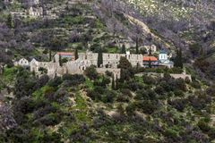 Old Monastery in Mount Athos at Autonomous Monastic State of the Holy Mountain, Greece. Old Monastery in Mount Athos at Autonomous Monastic State of the Holy stock photo