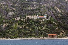 Old Monastery in Mount Athos at Autonomous Monastic State of the Holy Mountain, Greece. Old Monastery in Mount Athos at Autonomous Monastic State of the Holy stock photography
