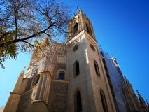 Church and old monastery of San Jerónimo el Real, in Madrid, Spain. The old monastery of San Jerónimo el Real, popularly known as `Los Jerónimos`, was royalty free stock images