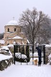An old monastery in the snow. Old monastery in the snow in winter royalty free stock photography