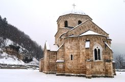 An old monastery in the snow. Old monastery in the snow in winter royalty free stock photo