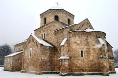 An old monastery in the snow. Old monastery in the snow in winter stock images
