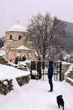 An old monastery in the snow. Old monastery in the snow in winter stock photography