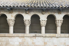 Old monastery wall with arches in Barcelona Stock Photo