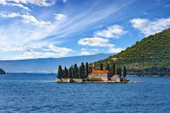 Old monastery on water. Old monastery on the island of St. George in Kotor, Montenegro royalty free stock photo