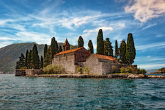 Old monastery on water. Old monastery on the island of St. George in Kotor, Montenegro stock photography