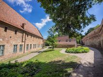 The old monastry garden and wall in Rostock, Germany Royalty Free Stock Photos