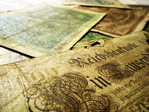 Old money. Beautiful old german paper money Royalty Free Stock Images