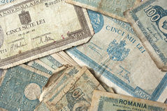 Old money. Old collection of Romanian money, different currency Royalty Free Stock Photos