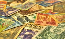 Old money. Retro banknotes closeup, currencies from around the world Stock Photo