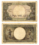 Old money. Old Romanian banknote from World War II (front and back), very precious for collectors. Isolated on white background, high scan Stock Photo