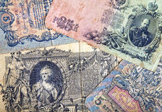 Old money Background. The Great Antique Russian banknote from the begining of XX century Royalty Free Stock Images