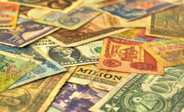 Old money banknotes Stock Photos