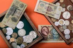 Old Russian money and coins royalty free stock photography