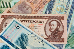 Old money. Collection of old money banknotes, portrait side stock image